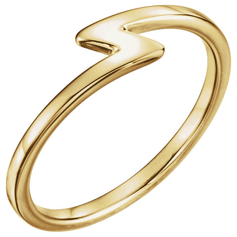 14K Gold Lightning Bolt Stackable Ring