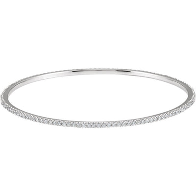 14K Gold & Diamond Stackable Bangle Bracelet