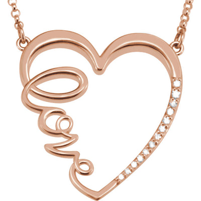 "Gold & Diamond ""Love"" Heart Infinity-Inspired Necklace"