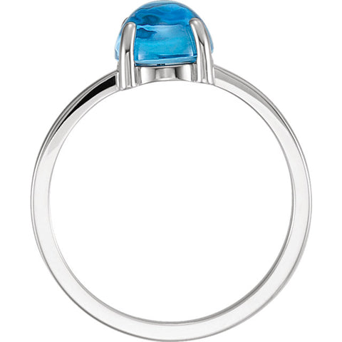 14K White Gold Turquoise Cabochon Ring