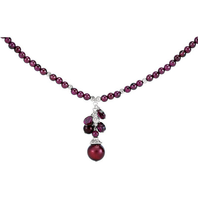 Dyed Pearl & Rhodolite Garnet Necklace