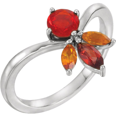 14K White Gold Multi-Gemstone Ring