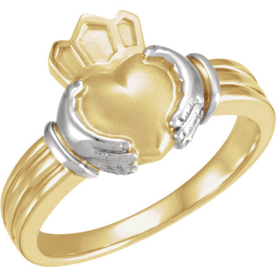 Yellow & White Gold Two-Tone Claddagh Ring