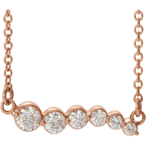 Graduated Diamond Bar Necklace