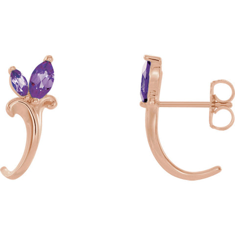 Floral-Inspired J-Hoop Earrings