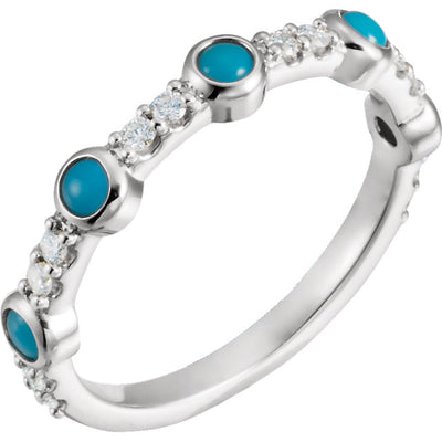 14K Gold Cabochon Turquoise & 1/5 CTW Diamond Ring
