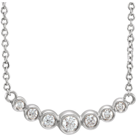 14K White Gold and Diamond Graduated Bezel Set Necklace