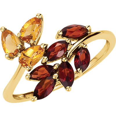 Citrine & Mozambique Garnet Leaf Design Bypass Ring