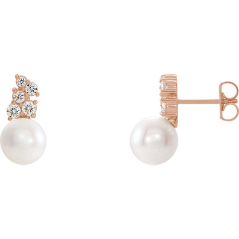14K Gold & Pearl Diamond Earrings