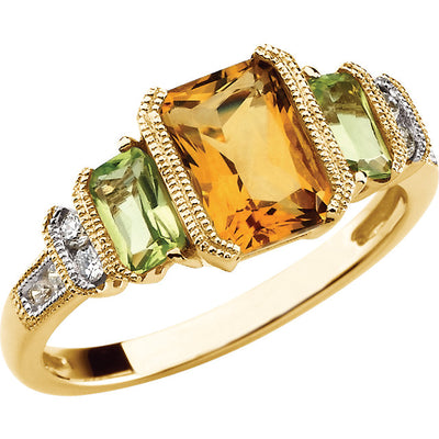 14K Gold Citrine, Peridot & Diamond Accented Ring