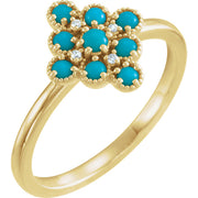 14K Yellow Gold Turquoise & .02 CTW Diamond Cluster Ring