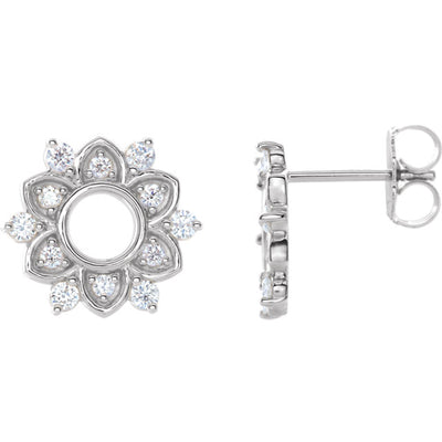 14K White 1/3 CTW Diamond Starburst Earrings - aurumluxe