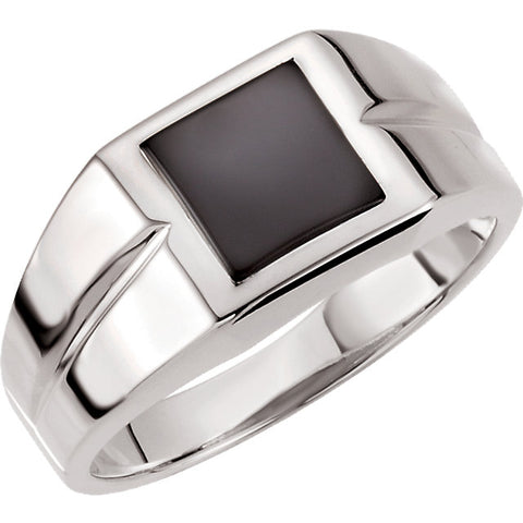 Gold or Silver Square Onyx Ring