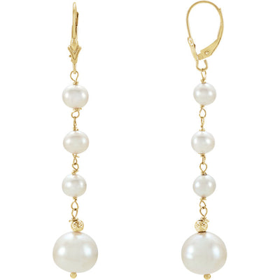 14K Gold Pearl Dangle Earrings