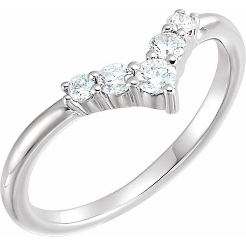 "Accented Graduated ""V"" Ring"