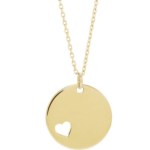 Pierced Heart Disc Necklace or Pendant