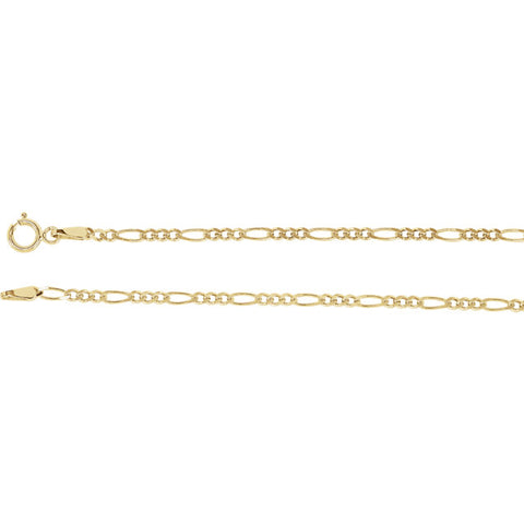 "14K Yellow 2mm Solid Figaro 7"" Chain"