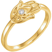 14K Gold .03 CTW Diamond Hamsa Ring