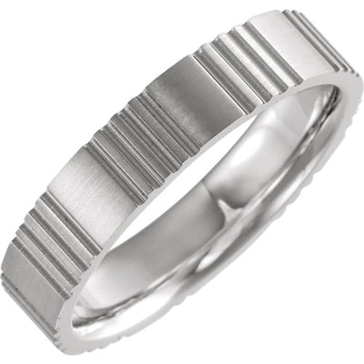 14K Gold Grooved Band
