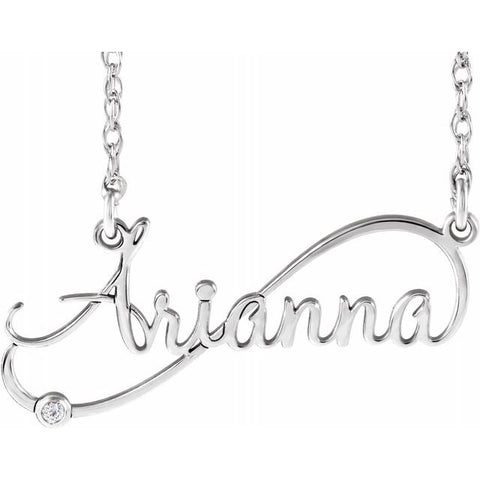 Infinity-Inspired Script Nameplate Necklace