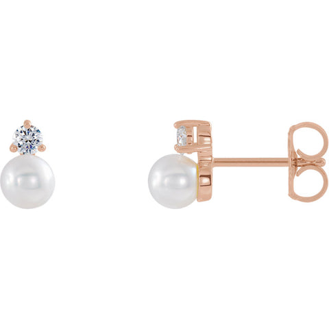 14K Gold Pearl & 1/2 CTW Diamond Earrings
