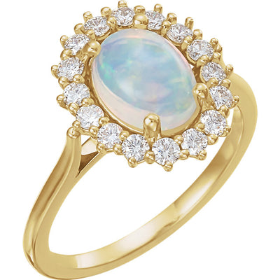 14K Yellow Gold Opal & 3/8 CTW Diamond Halo-Style Ring