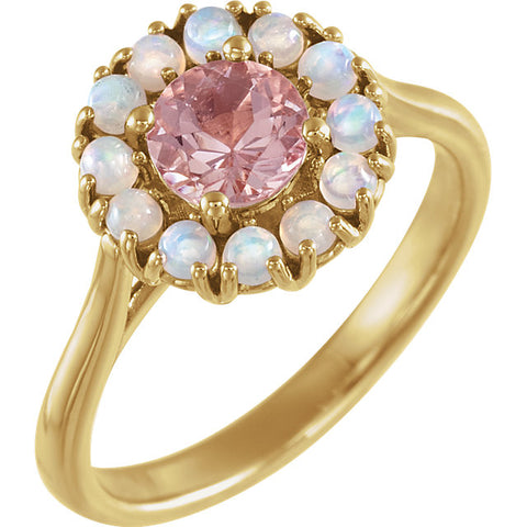 14K Gold Morganite & Ethiopian Opal Halo-Style Ring