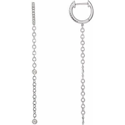 Accented Hinged Hoop Chain Earrings