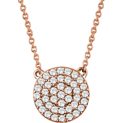 14K Gold 1/3 CTW Diamond Round Cluster Necklace
