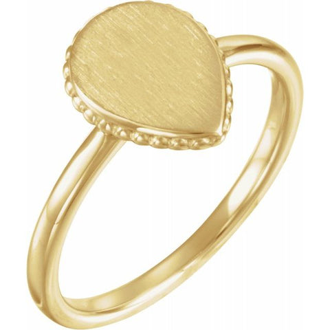 Pear Beaded Signet Ring