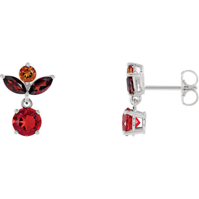 14K Gold  Multi-Shape Gemstone Earrings