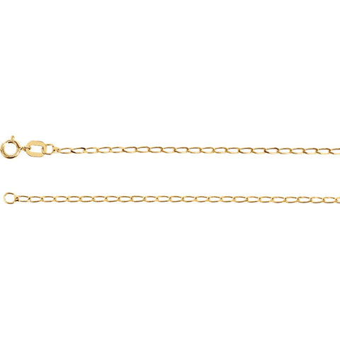 14K Gold 1.25mm Solid Curb Chain