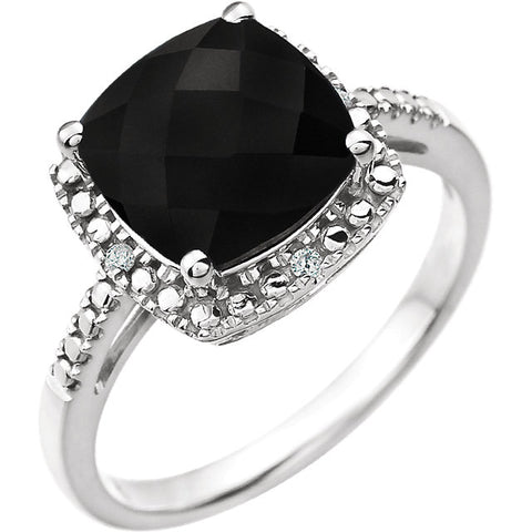 Gemstone & Diamond Halo-Style Ring