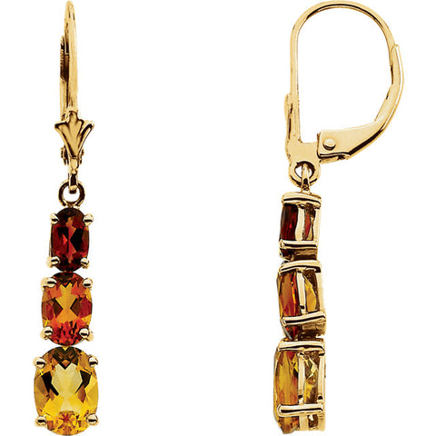 14K Gold Multi-Gemstone Graduated Citrine Earrings