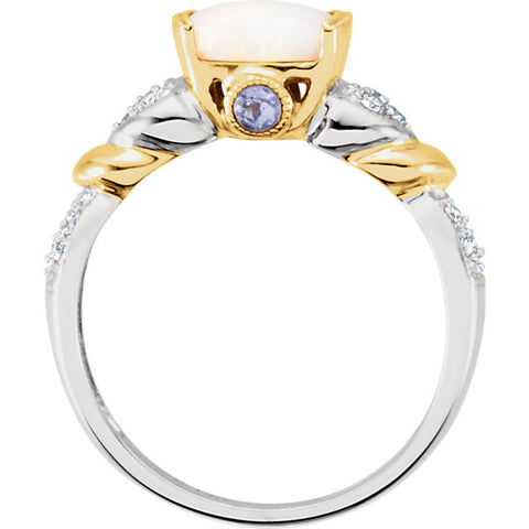 Gold, Opal, Tanzanite & Diamond Accented Two-Tone Granulated Design Ring