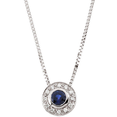 White Gold & Blue Sapphire Diamond Necklace