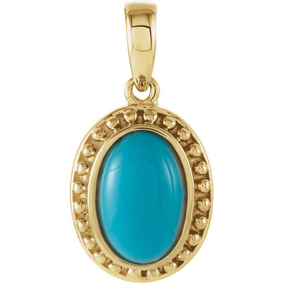 Gold and Genuine Turquoise Beaded Pendant