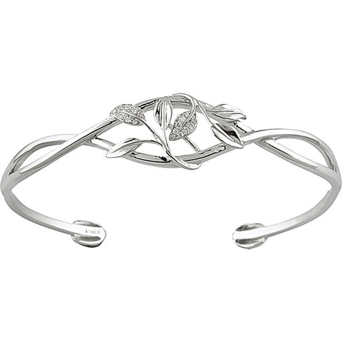 14K White Gold & Diamond Leaf-Design Cuff Bracelet