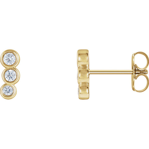 Gold & Diamond Petite Three-Stone Ear Climbers