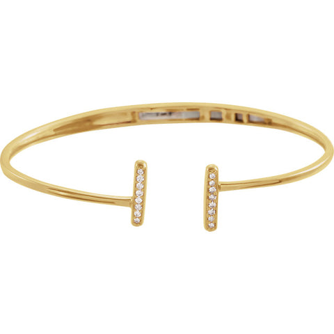 14K Gold 1/6 CTW Diamond Bar Hinged Cuff Bracelet
