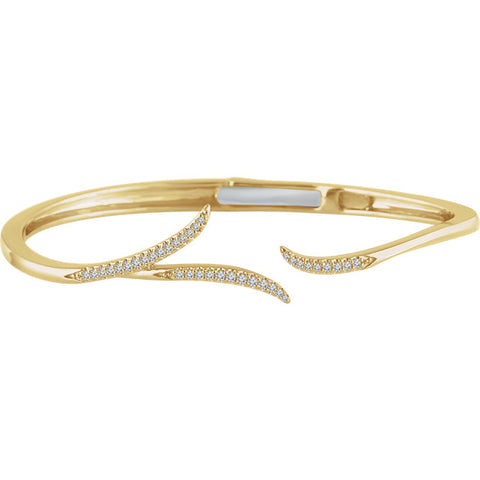 14K Gold & 1/4 CTW Diamond Hinged Cuff Bracelet