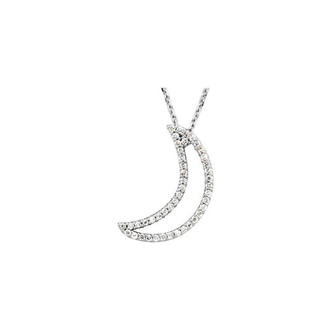 "14K White Gold 1/5 CTW Diamond Crescent Moon 16"" Necklace"