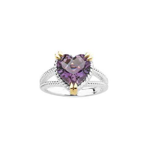 Sterling Silver & 14K Yellow Heart Amethyst Rope Design Ring.