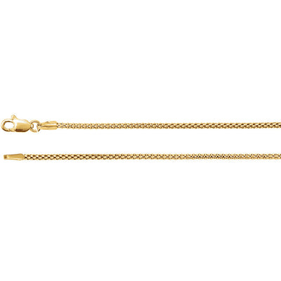 14K Gold Hollow Popcorn Chain - 1.5mm
