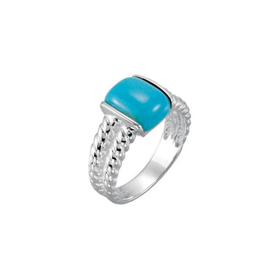 Sterling Silver Chinese Turquoise Rope Ring