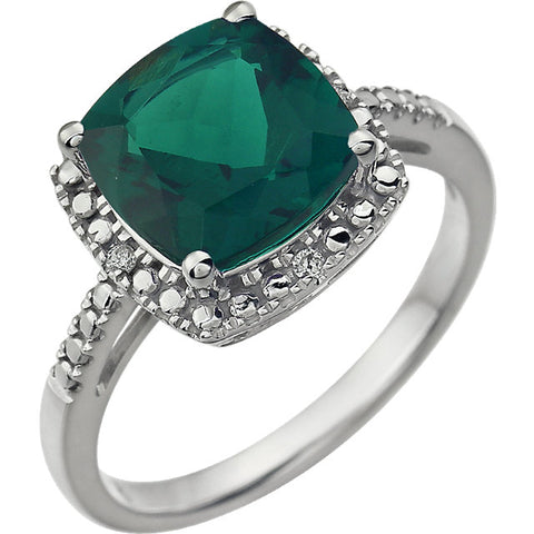 14K White Gold Gemstone & .03 CTW Diamond Ring