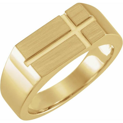 Men's Rectangle Cross Signet Ring