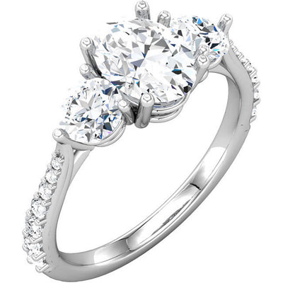 14K White 1/4 CTW Diamond Three-Stone Engagement Ring