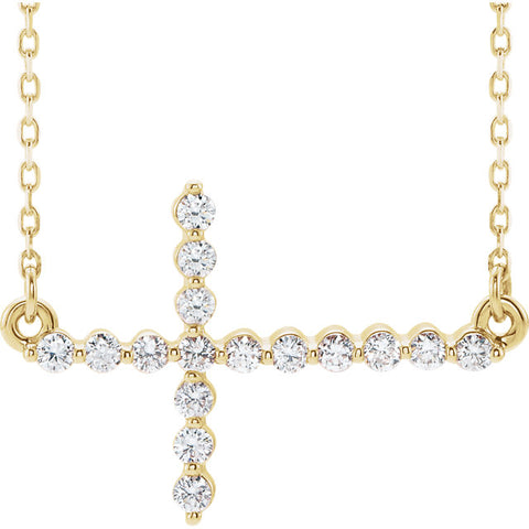 14K Gold 1/3 CTW Diamond Sideways Cross Necklace