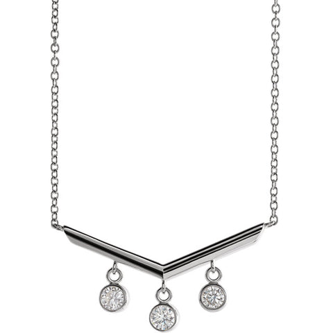 Diamond V Bar Necklace